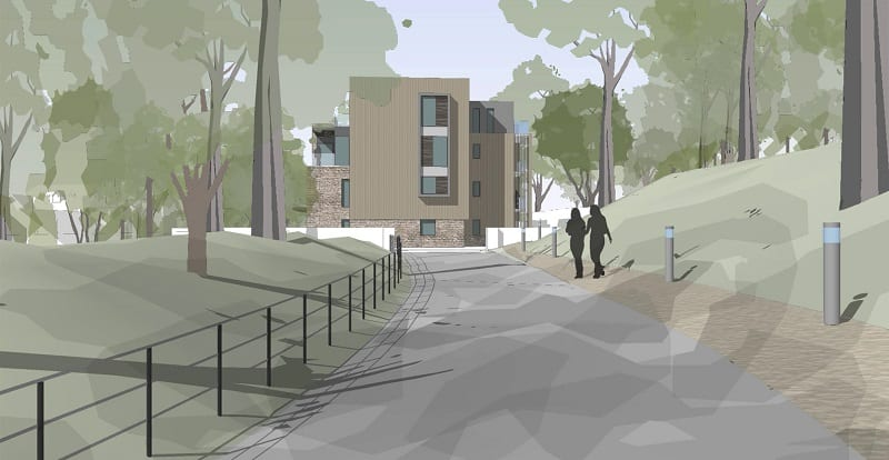 Approach to apartments sketch with tree line path and tall apartment block