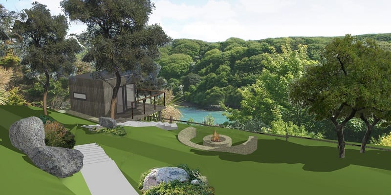 Garden design with path, tress, stones and water feature