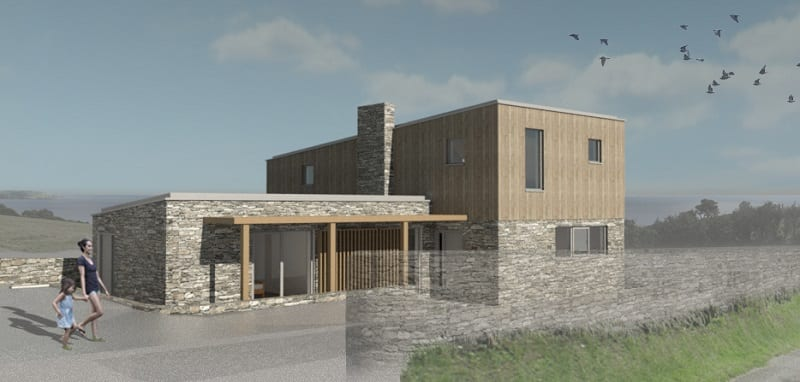 Modern house design 3d image. Stone walls, split levels and wooden cladding.