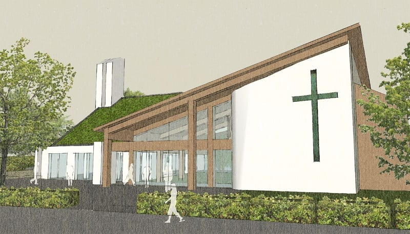Architectural drawing of new Church Community Hub with slanted roof.