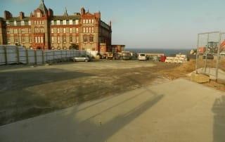 The Headland hotel with construction work in front