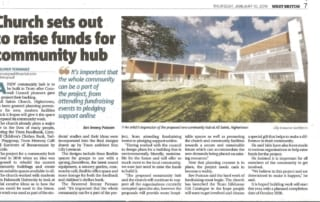 Newpaper article about new design for cummunity hub with Highertown Church