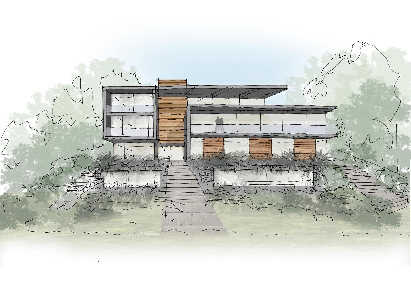 House by the Gannel Newquay drawing