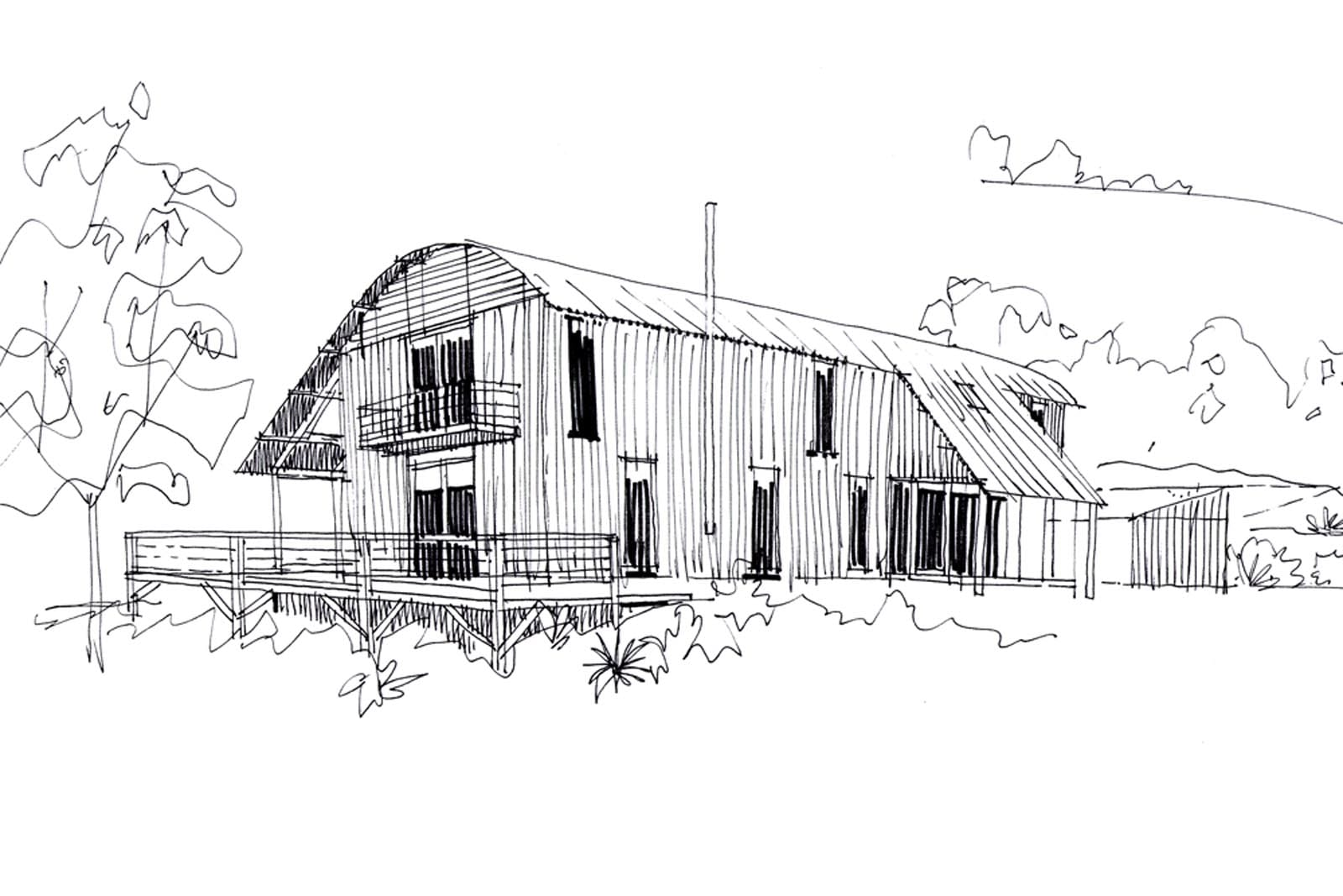 House by the Stream - Front Sketch