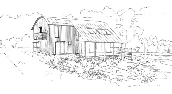 House by the Stream - Rear Sketch
