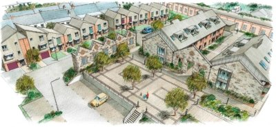 Mixed use housing development aerial sketch