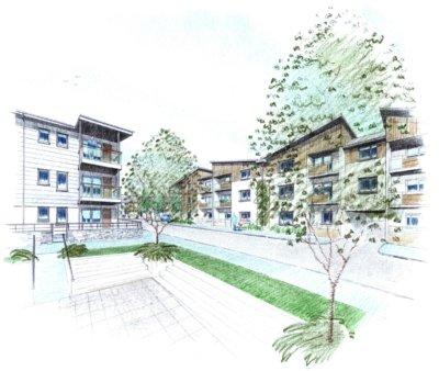 Mixed Use Development Camborne courtyard Sketch