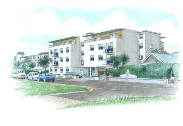 Modros Hotel Conversion, Newquay - Street View Sketch